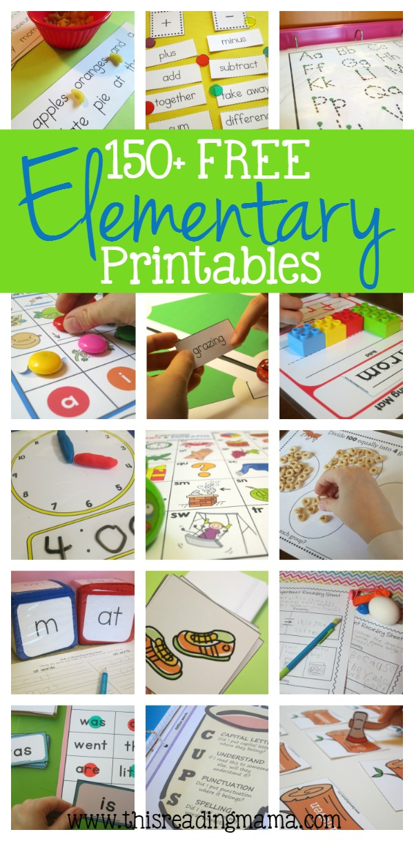 150+ FREE Elementary Printables - from This Reading Mama