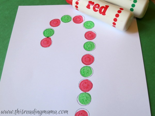 candy cane patterns with do-a-dot paint
