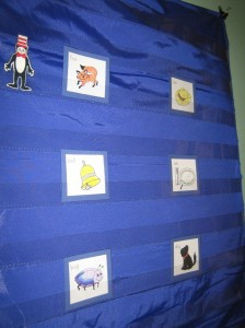 rhyming game on pocket chart with Cat in the Hat