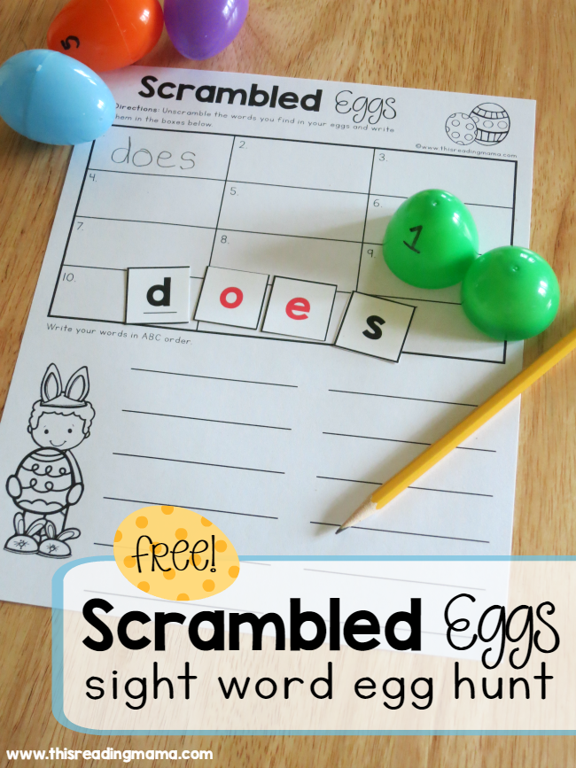 Scrambled Eggs Sight Word Egg Hunt This Reading Mama