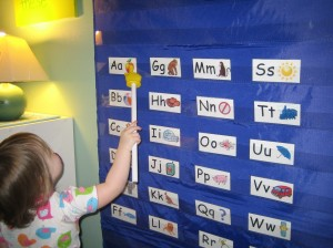 pointing to letters on the pocket chart