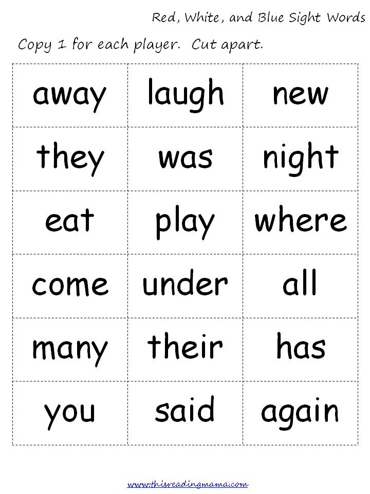 (FREE and  Words Mama printables worksheets Reading Red, sight  free Sight Printable) Blue White, word  This