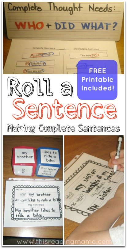 Making Sentences Free Printable Included on Roll And Color