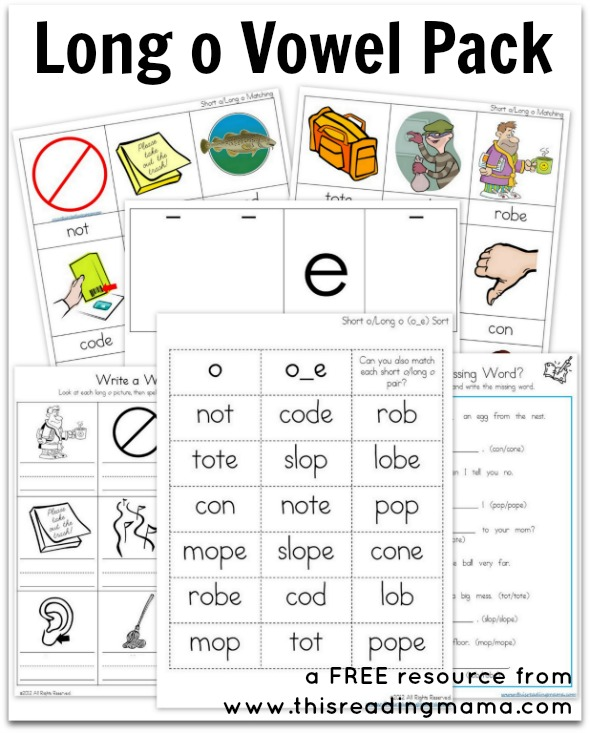 Long o Vowel Pack Free Printable – Short O Worksheets for Kindergarten