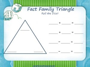 Fact Family Triangle Gameboard