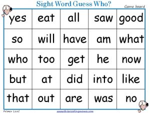 Sight Word Guess Who-Primer Gameboard