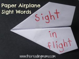 paper airplane sight words