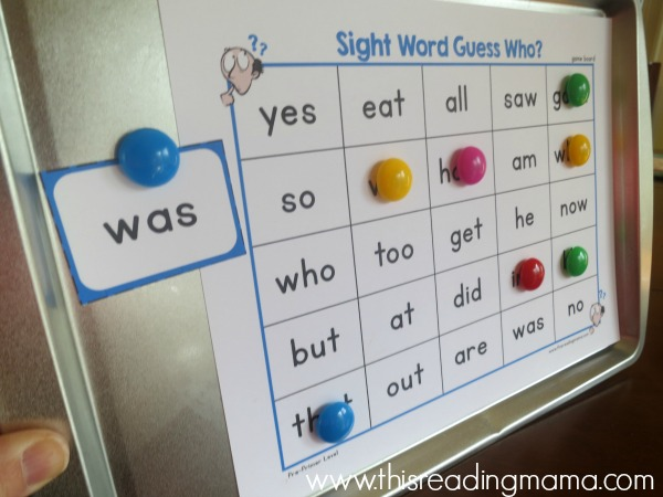 sight word guess who on a cookie sheet