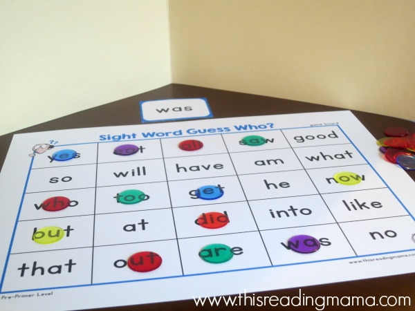 sight word guess who with a file folder
