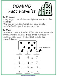 Domino Fact Families Directions