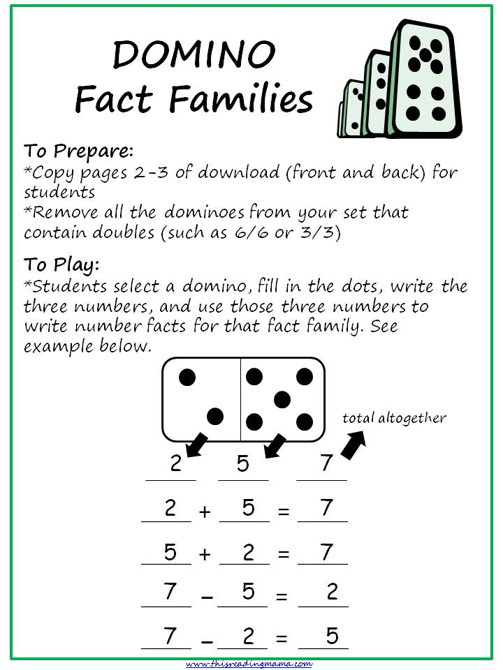 Fact Families with Dominoes This Reading Mama – Fact Family Worksheet
