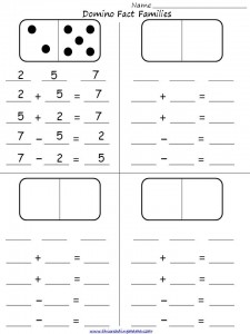 math worksheet : fact families with dominoes  this reading mama : Domino Math Worksheets First Grade