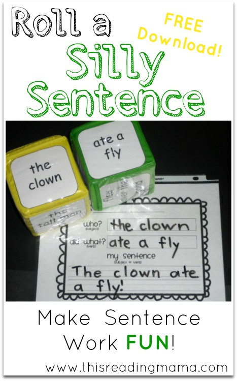 roll a silly sentence free printable included