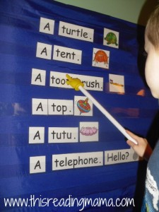 pocket chart letter T reading