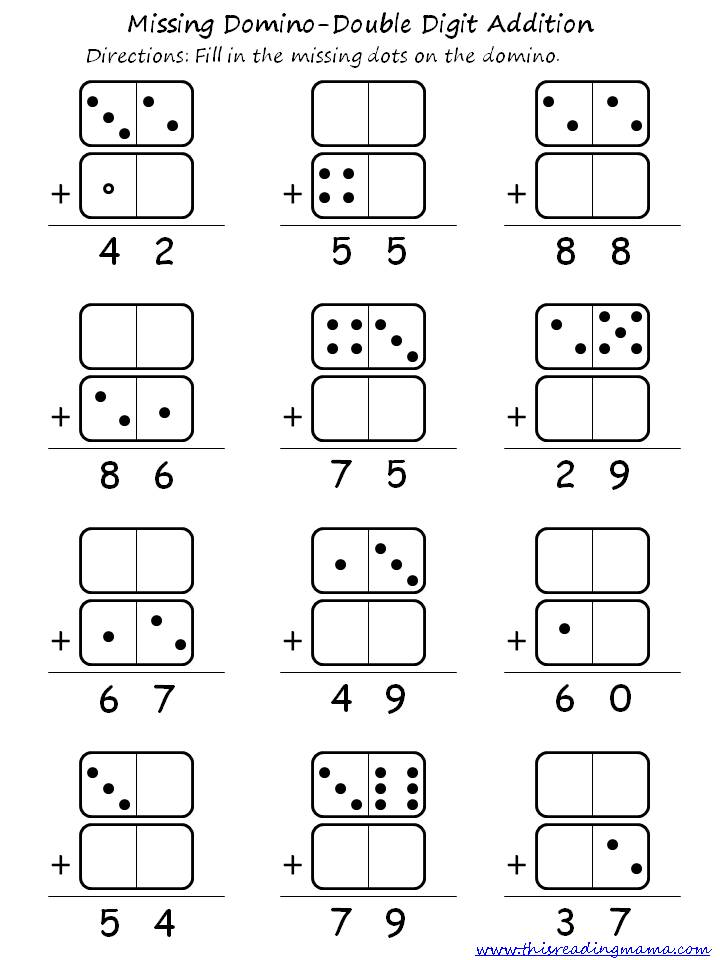 double digit domino addition and subtraction this reading mama. Black Bedroom Furniture Sets. Home Design Ideas