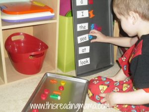 spelling sight words on cookie sheet