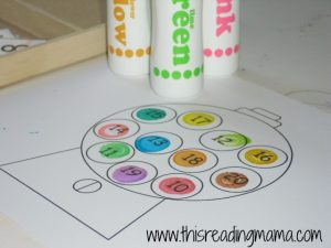 photo of 1-20 number activity for preschoolers with gumballs