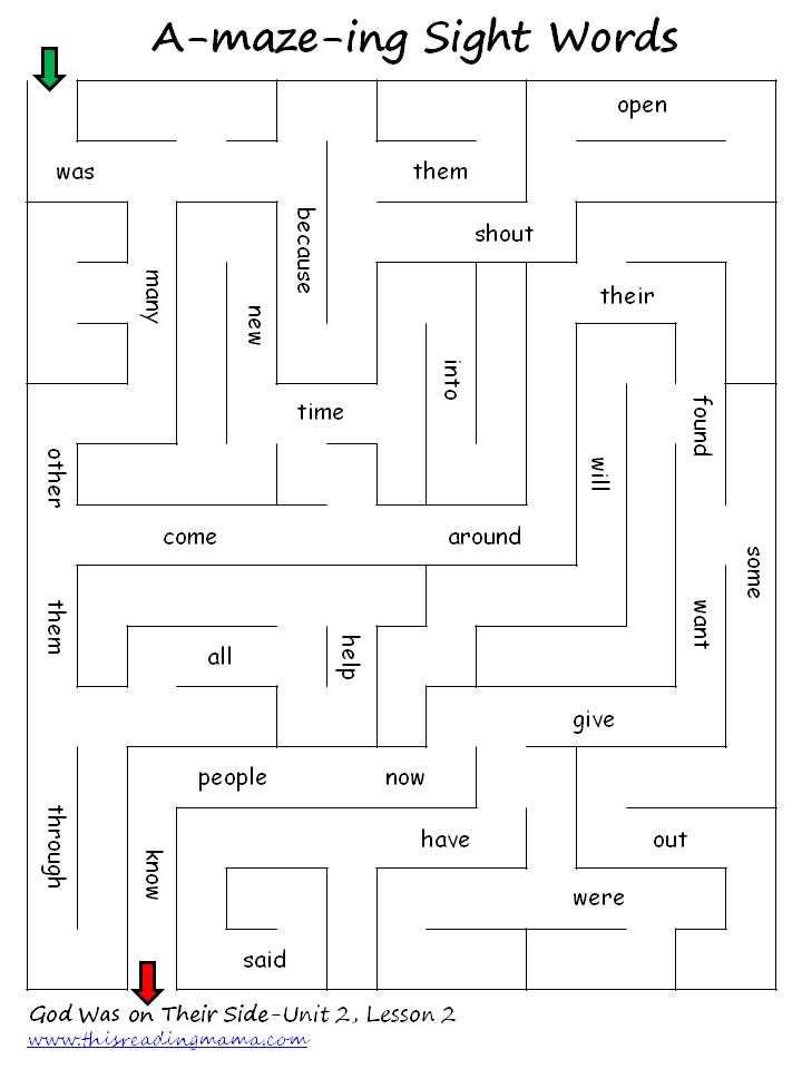 "maze"" Words  sight word ing Sight worksheet day"