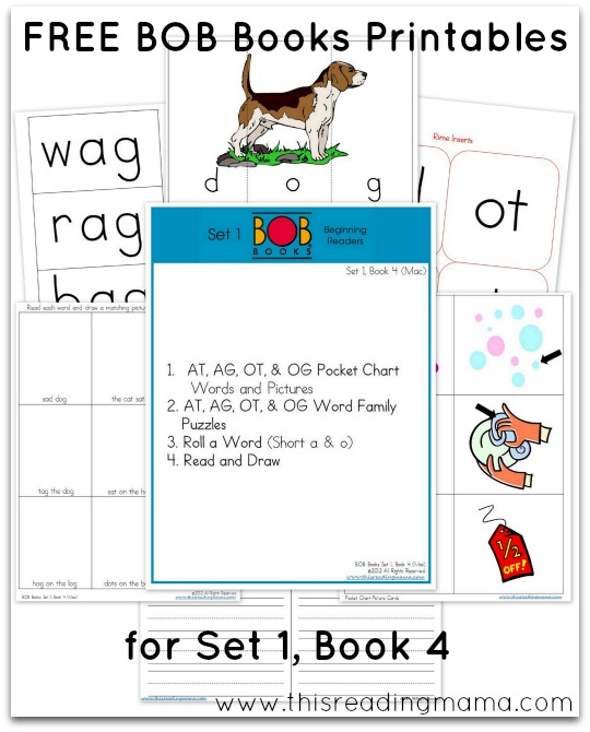 FREE BOB Books Printables for Set 1-Book 4 This Reading Mama