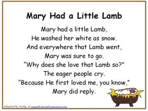 Photo of Mary Had a Little Lamb Christian Nursery Rhyme