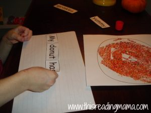 gluing down a sentence-print awareness activity