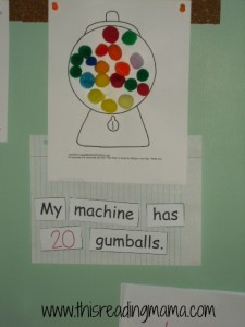 photo of pre-reading activity with gumballs