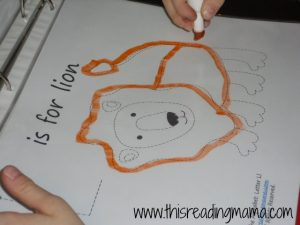 L is for Lion, free tracing page