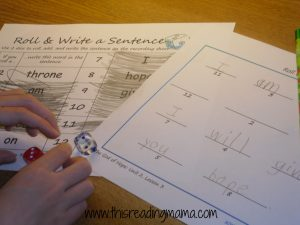 Photo of Roll and Write a Sentence Activity