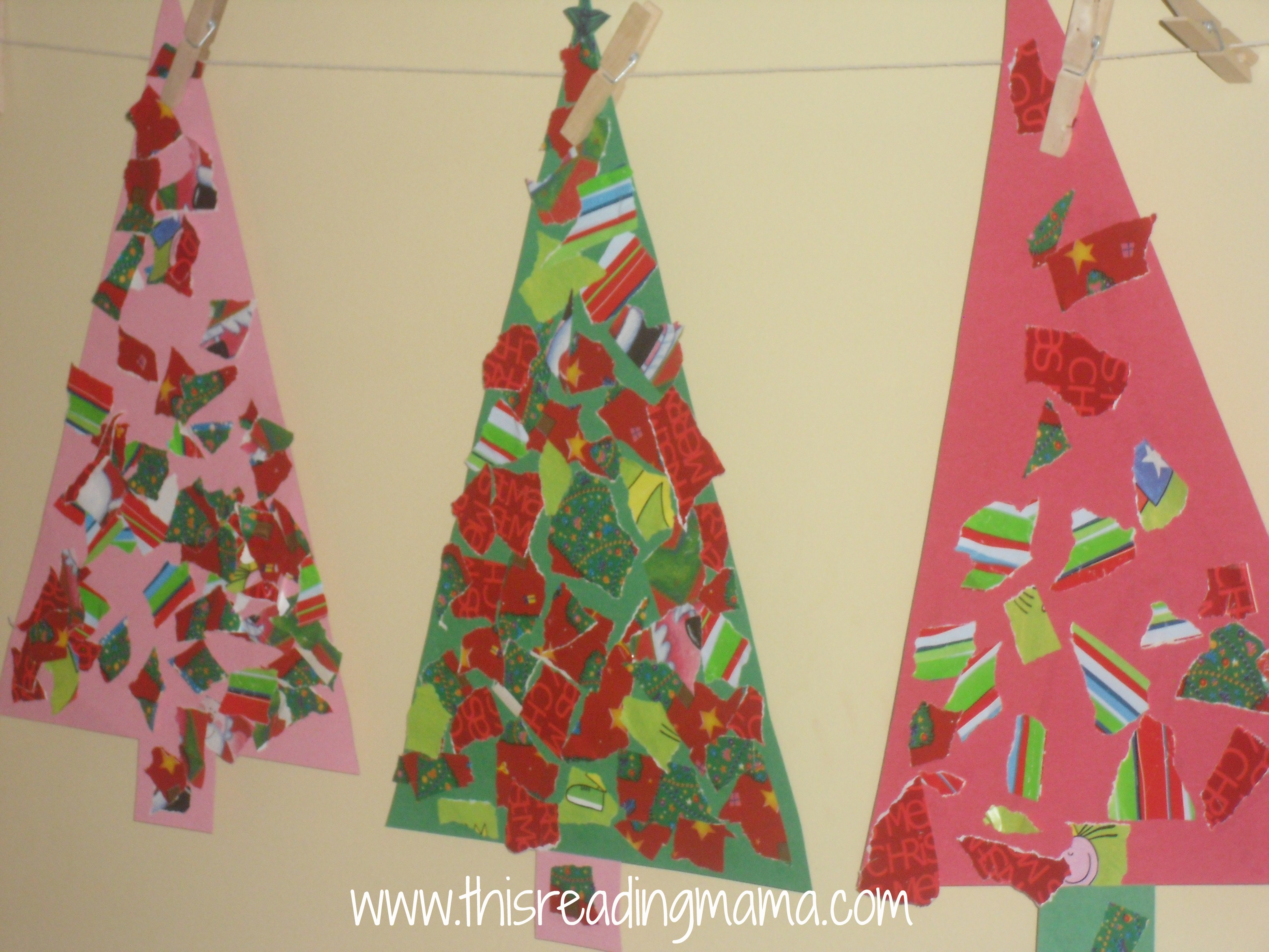 finished torn wrapping paper christmas tree crafts this