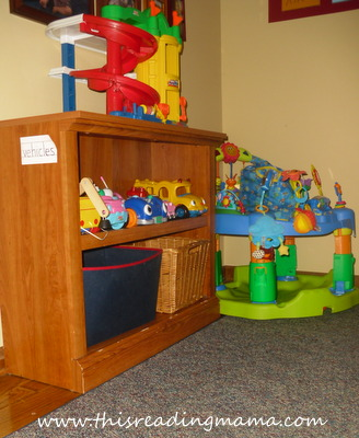 photo of displaying and organzing toys (vehicles)