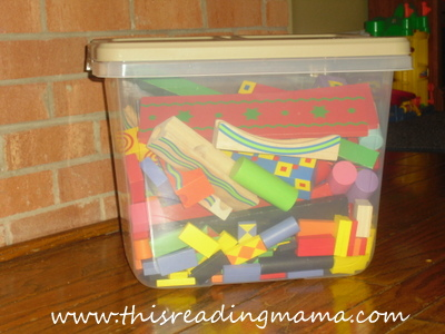 photo of Storing toys with lots of pieces in a container