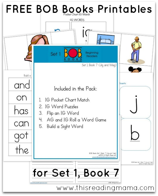 FREE BOB Books Printables for Set 1-Book 7 This Reading Mama