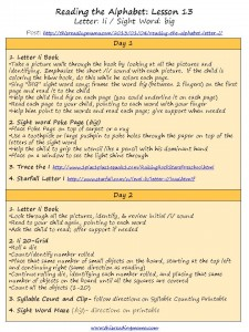 5-Day Lesson Plan Outline for Letter Ii