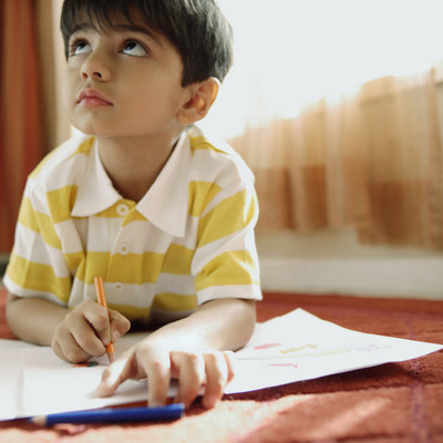 Young Boy Coloring
