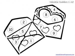 Valentine Numbers 1-10 board