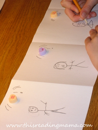 drawing the characters for the conversation hearts dialogue activity