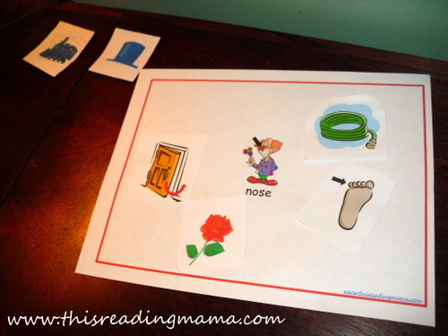 Rhyming Sort with NOSE {This Reading Mama}