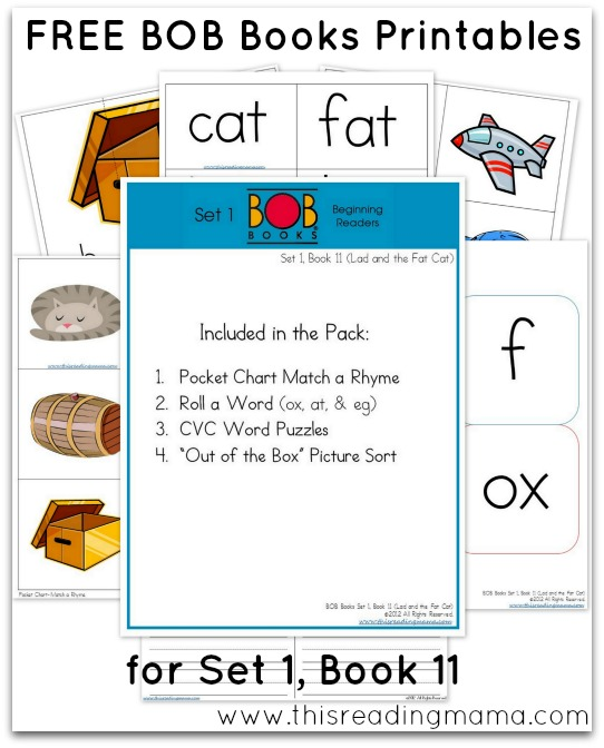 FREE BOB Books Printables for Set 1 - Book 11 THis Reading Mama