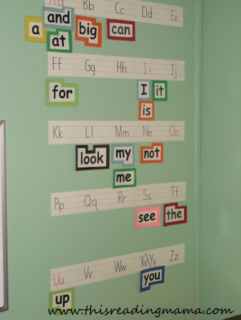 photo of Word Wall with Sentence Strips | This Reading Mama