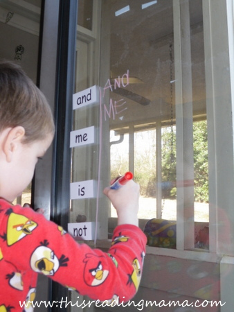photo of writing sight words with window markers