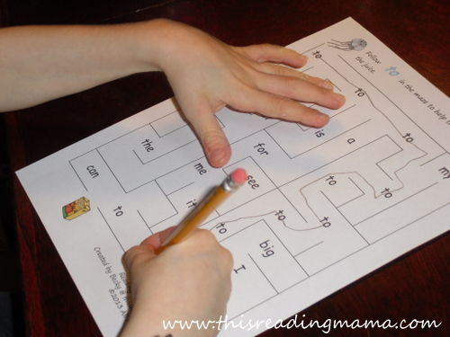 photo of sight word maze for preschooler | This Reading Mama