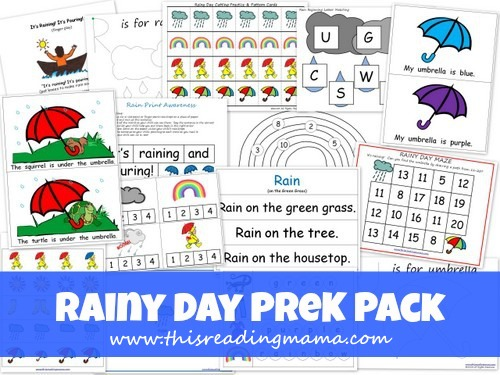 photo of FREE Rainy Day PreK Pack | This Reading Mama