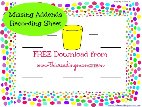 FREE Missing Addends Recording Sheet | This Reading Mama