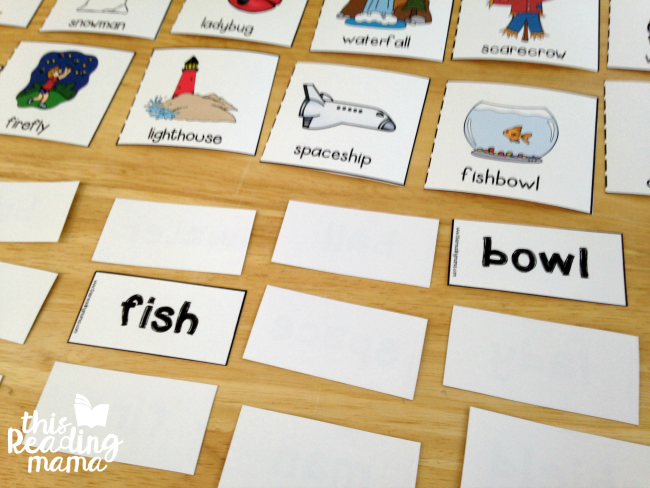 compound words matching game with words and pictures