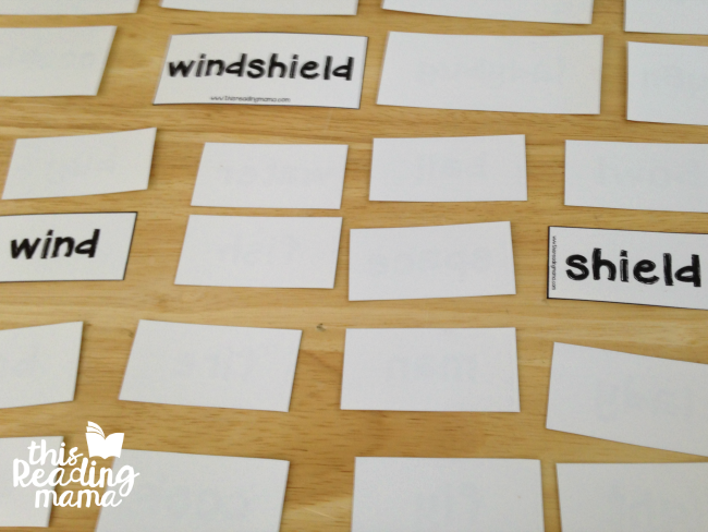 matching compound words using only word cards