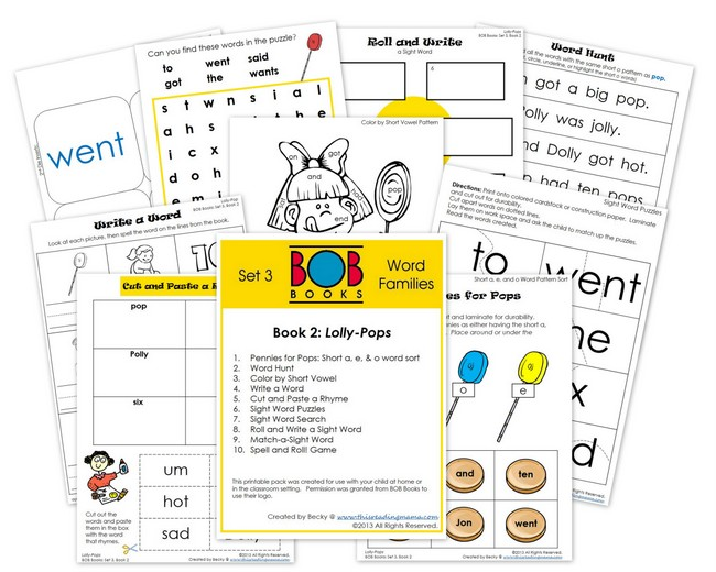 FREE BOB Book Printables- Set 3, Book 2 | This Reading Mama