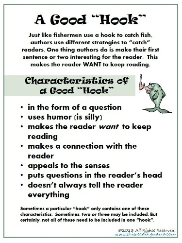 Free Download ~ Characteristics of a Good Hook | This Reading Mama