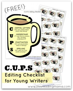 FREE Editing Checklist for Young Writers | This Reading Mama