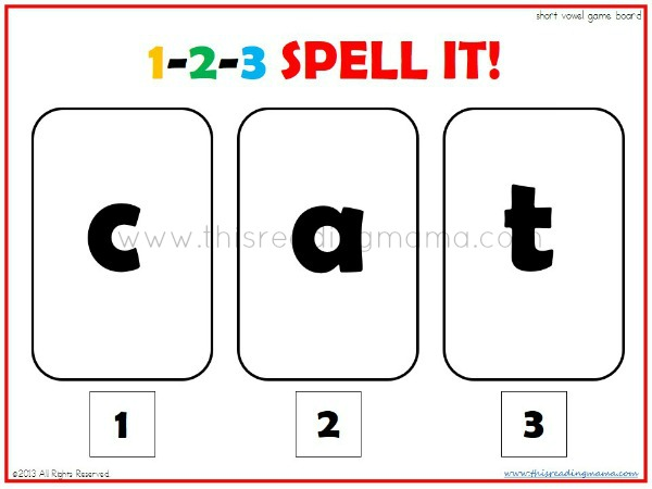 1-2-3 SPELL IT!~ A Short Vowel Spelling Game | This Reading Mama