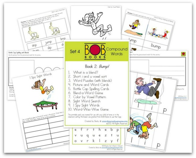 FREE BOB Book printables ~ Set 4, Book 2 | This Reading Mama